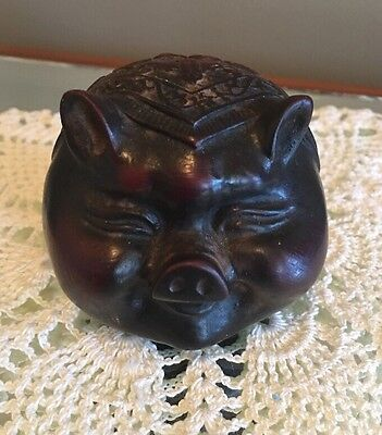 Chinese Fengshui Good Luck Pig Carved Statue Figure