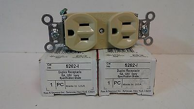 Lot Of (2) Nos! Pass & Seymour Legrand 15A 125V Ivory Duplex Receptacles 5262-I