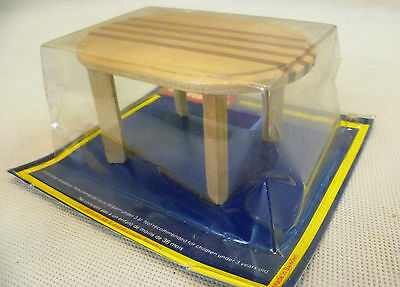 Vintage Dolls House Carded Lundby Striped Wooden Dining Table #2 - 4370