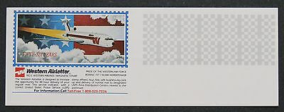 Western Air Airletter SECOND DAY SERVICE STAMP WAS-5 Boeing 727 Jet Plane