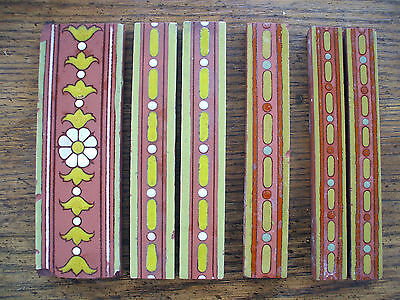 DECORATIVE ASSORTMENT 6 BORDER TILES BY MAW & Co. c1900