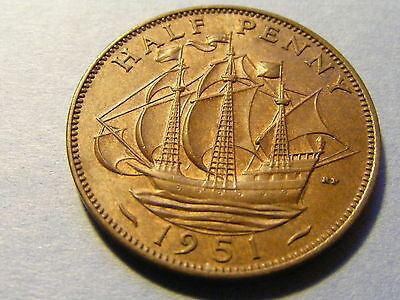 1951 George VI Half Penny Coin - Good Condition - Some Original Lustre