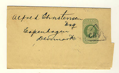 GB KEVII CBV TRIANGLE OF CARDIFF BUTE DOCKS ON 1/2d GREEN WRAPPER TO COPENHAGEN