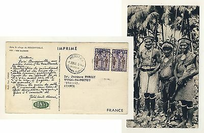 BR. SOLOMON ISLANDS 1955 SG61x2 on Pharmaceutical Advert Card HONIARA to FRANCE