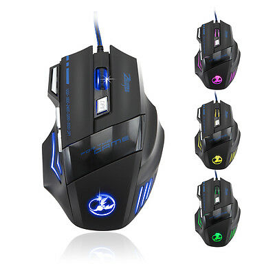Ajustable DPI 7 Button Mice USB Wired LED Optical Gaming Mouse For Pro GamerUK