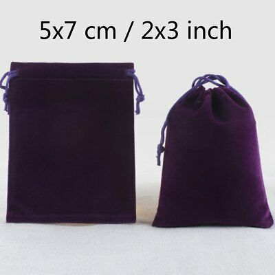 50 Deep Purple Velvet Drawstring Square Jewellery Pouches Gift Bags 5 x 7 cm