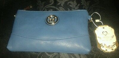 Royal blue clutch bag with m logo on front day evening wedding