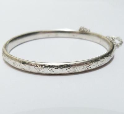 VINTAGE SMALL/CHILD STERLING SILVER FLORAL CHESTER 1950's CUFF BRACELET & SAFETY