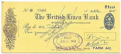 Used Cheque,British Linen Bank Wooler/Martins,Grey St Newcastle H.S. 1957 (P4)