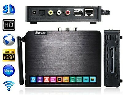 Egreat R6S Reproductor multimedia 3D USB 3.0, Wi-Fi Blu-Ray, 3D ISO HDMI 1.4