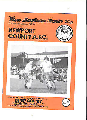 newport county v derby county football programme 30/10/1979