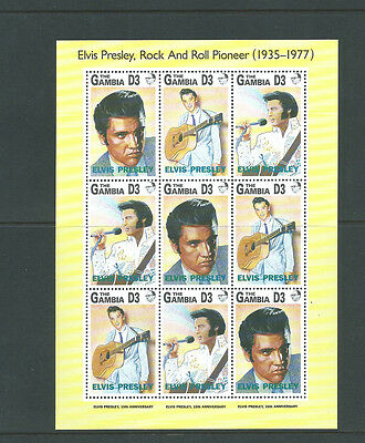 The Gambia Elvis Presley sheetlet of 9 stamps MNH