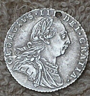1787 KING GEORGE111 BRITISH  SILVER SIXPENCE COIN (holed)