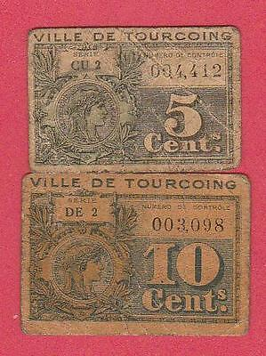 C.a.1918 France (Tourcoing) 5&10 Centime Notes