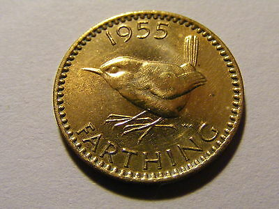 1955 Elizabeth II Farthing Coin  - Much Lustre or has been poished very shiney