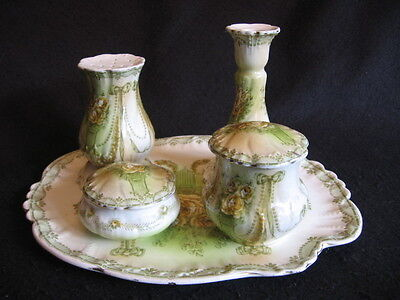 VICTORIAN KEELING & CO FLORAL LADIES 5 PCE DRESSING TABLE SET c.1880's