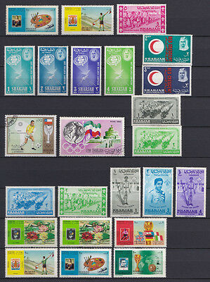 Sharjah & Dependencies small selection of mounted mint & CTO stamps x 24