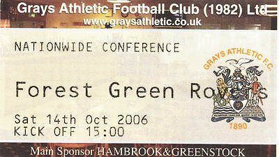Ticket - Grays Athletic v Forest Green Rovers 14.10.06