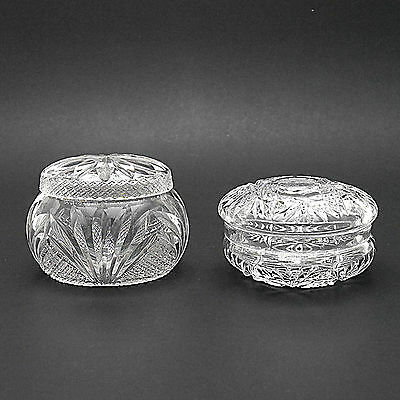 Two Attractive Vintage Crystal Glass Dressing Table/Vanity Pots/Jars