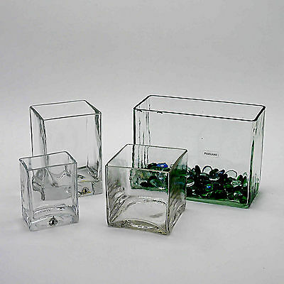 Four Rectangular/Cube Clear Glass/Crystal Vases & Decorative Glass Pebbles