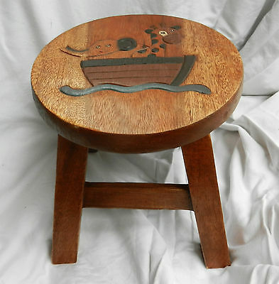 Chunky Hand Carved Solid Wooden Child's Stool - Noah's Ark Design - NEW