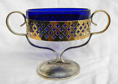 Art Deco Cobalt Glass & Silver Plate / Plated Pedestal Sugar Bowl / Sauce Dish