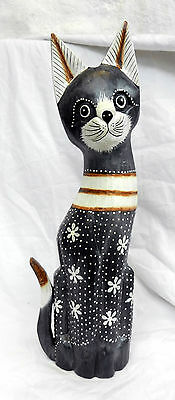 Large Hand Carved and Painted Wooden Cat Figure - New (B)
