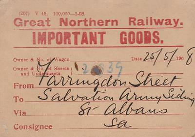Great Northern Railway Wagon Label IMPORTANT GOODS