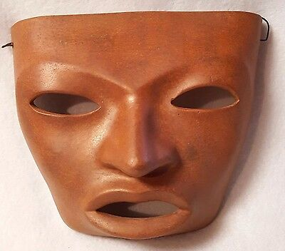 """Clay Mask Mexico Texcoco Pottery Face Terracotta Wire Hanger 5.5"""" x 6.5"""""""