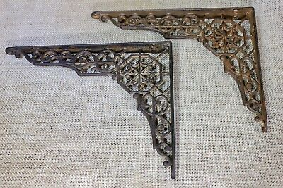 "2 Shelf brackets 7 X 9"" vintage old antique vintage 1880's Victorian hex web"