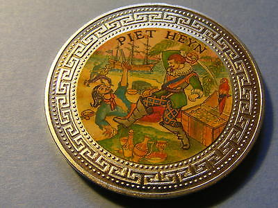 1998 Proof Piet Heyn Coloured Trade One Doll Coin - Great Condition - 39mm Dia