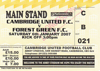 Ticket - Cambridge United v Forest Green 06.01.07