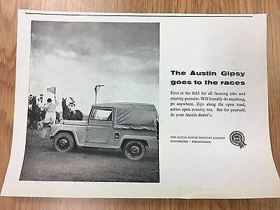RARE 1960 AUSTIN GIPSY - Goes To The Races Vintage B&W A5 Car Advert L22