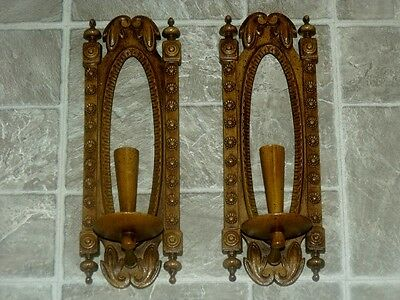 Vtg Burwood Home Interior Wood Tone French Cottage Daisy Wall Plaque Sconces Set