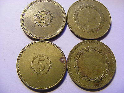 A Collection of 4 x Amusment 5p Tokens - 24mm Dia