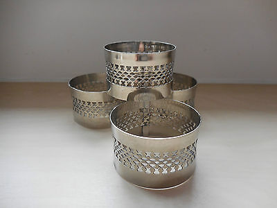 4 x Vintage 1970's Silver-Plated FILIGREE Round Napkin Rings ~ QTY 4 In GC!