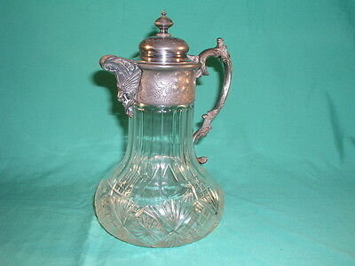 Antique Cut Glass Claret Jug With Pewter Lidded and Handle Top Griffin Spout