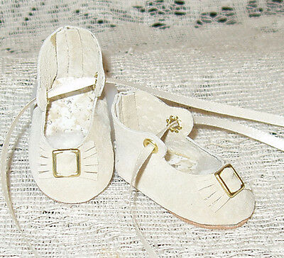 For JN Rosette~Handmade Leather Doll Shoes ~German Style~Ivory Suede