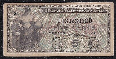 5 Cents Military Payment Certificate Series 481