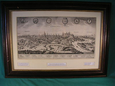Antique Cracovia Cracow 17th Century Rag Paper Print , Framed