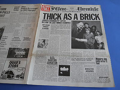 Lp Uk Prog Jethro Tull - Thick As A Brick - Copertina Giornale