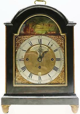 Antique Ebnonised 18thc English Triple Fusee Verge 8 Bell Musical Bracket Clock