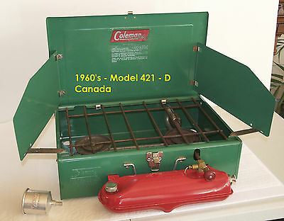 1960's - Coleman Canada - 2 burner Camp Stove - Model 421D And Coleman Funnel
