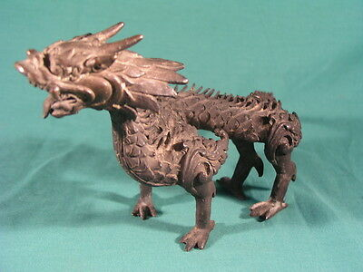 "Antique Bronze Japanese Dragon Figure Statue 9"" inches"