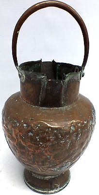 ANTIQUE Handmade VICTORIAN STYLE Riveted SOLID COPPER Handled WATER JUG - N34