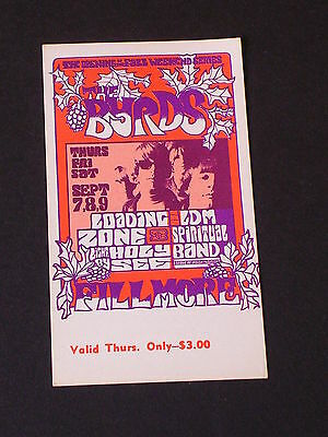 THE BYRDS Psychedelic FILLMORE TICKET by JIM BLASHFIELD BG082