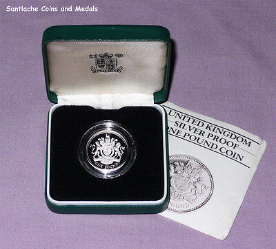 1983 ROYAL MINT SILVER PIEDFORT PROOF £1 COIN - Royal Arms Design - FIRST £1