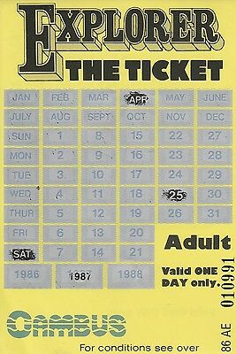 Card Ticket. Cambus. Explorer, Adult. 1986 to 1988. 1 ticket.