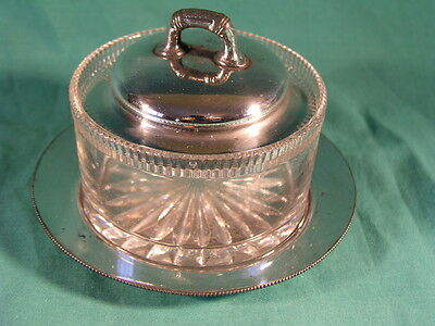 Antique Glass Jam / Preserve / Sugar Pot with Silver Plated Lid and Tray