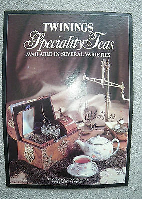 VINTAGE 1970/80s TWININGS SPECIALITY TEAS SHOP POINT OF SALE COUNTER CARD SIGN